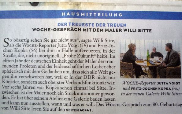 """Zeitungsausriss """"Die Woche"""" 2001. Auch Willi Sitte trank gern einen guten Tropfen Wein."""